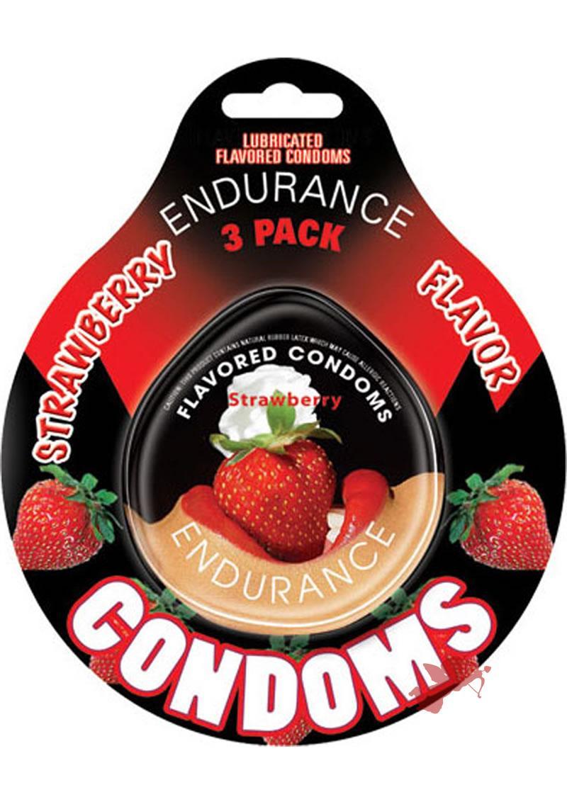 Strawberry Endurance Condom 3pk