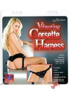 Vibrating Corsette Harness - Black