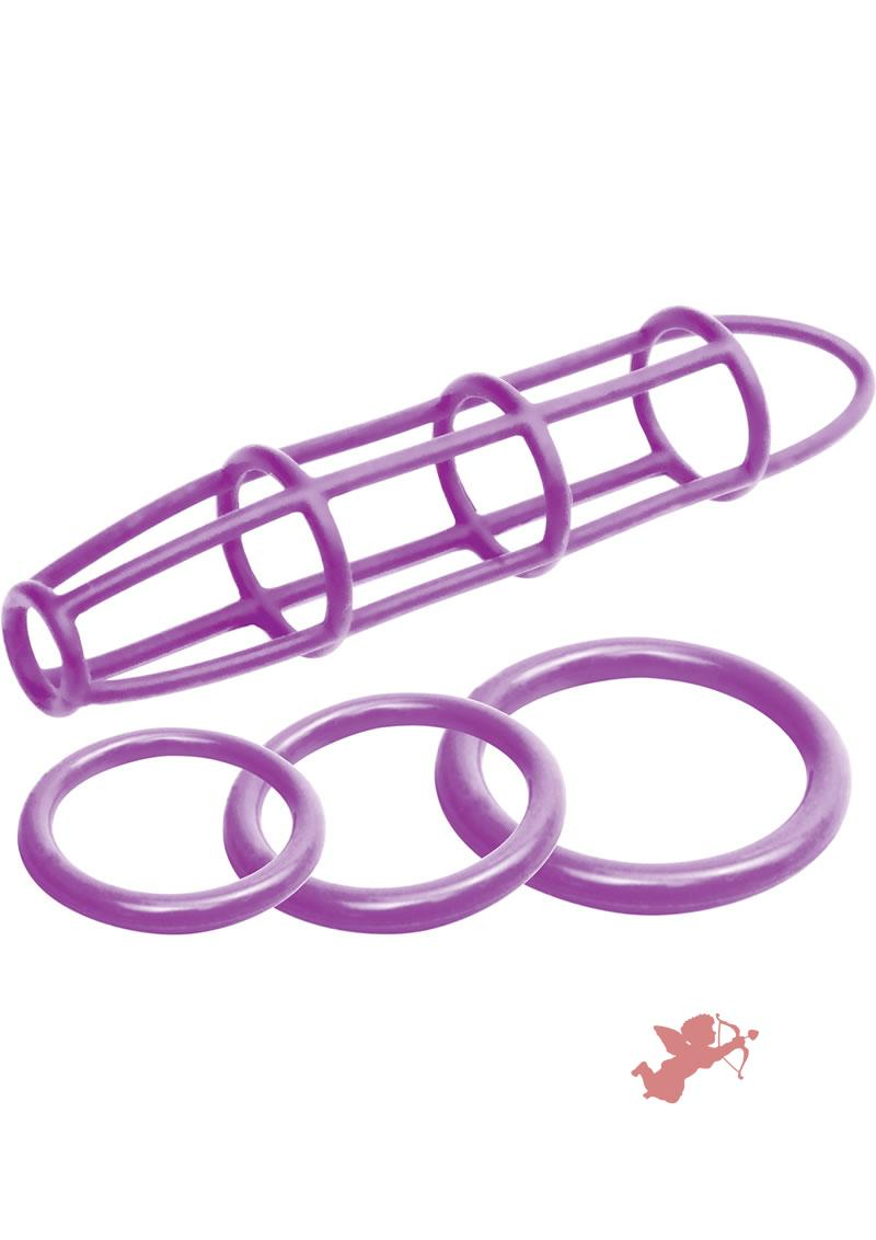 Neon Silicone Cage And Love Ring Set Purple