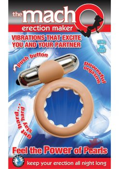 The Macho Erection Maker Cockring Waterproof Flesh