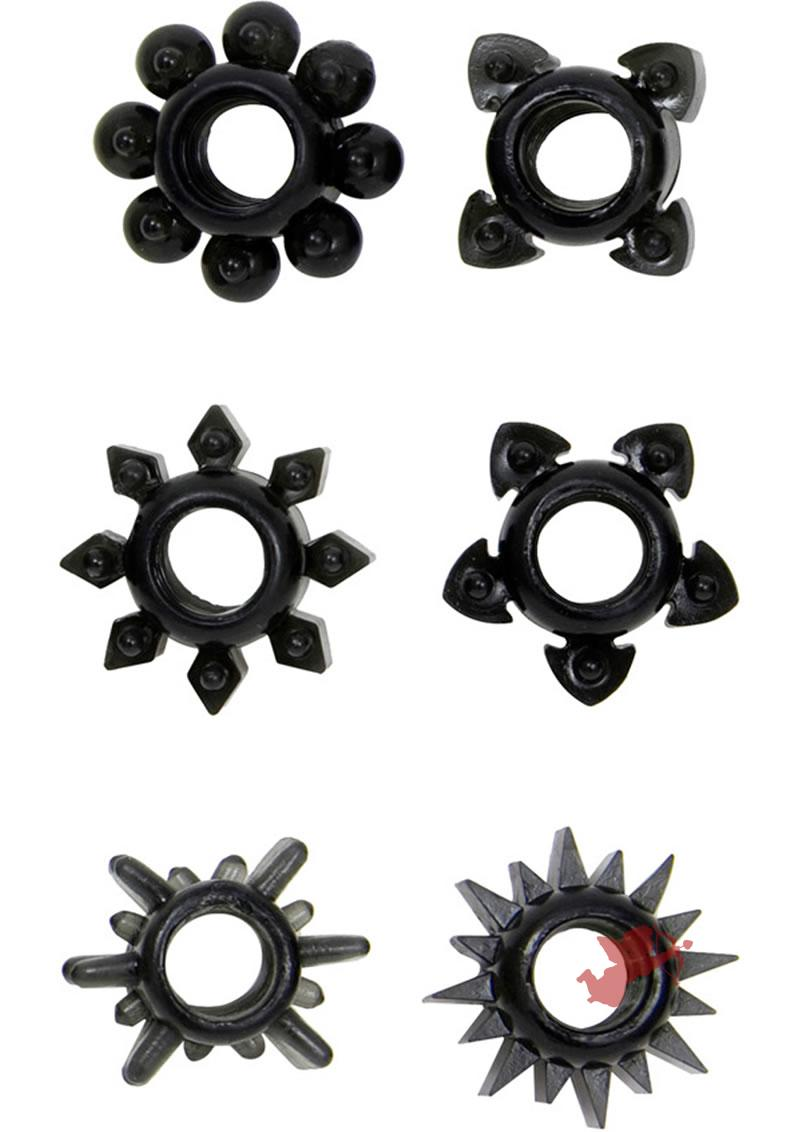 Tower Of Power Black Six Pack Cock Rings