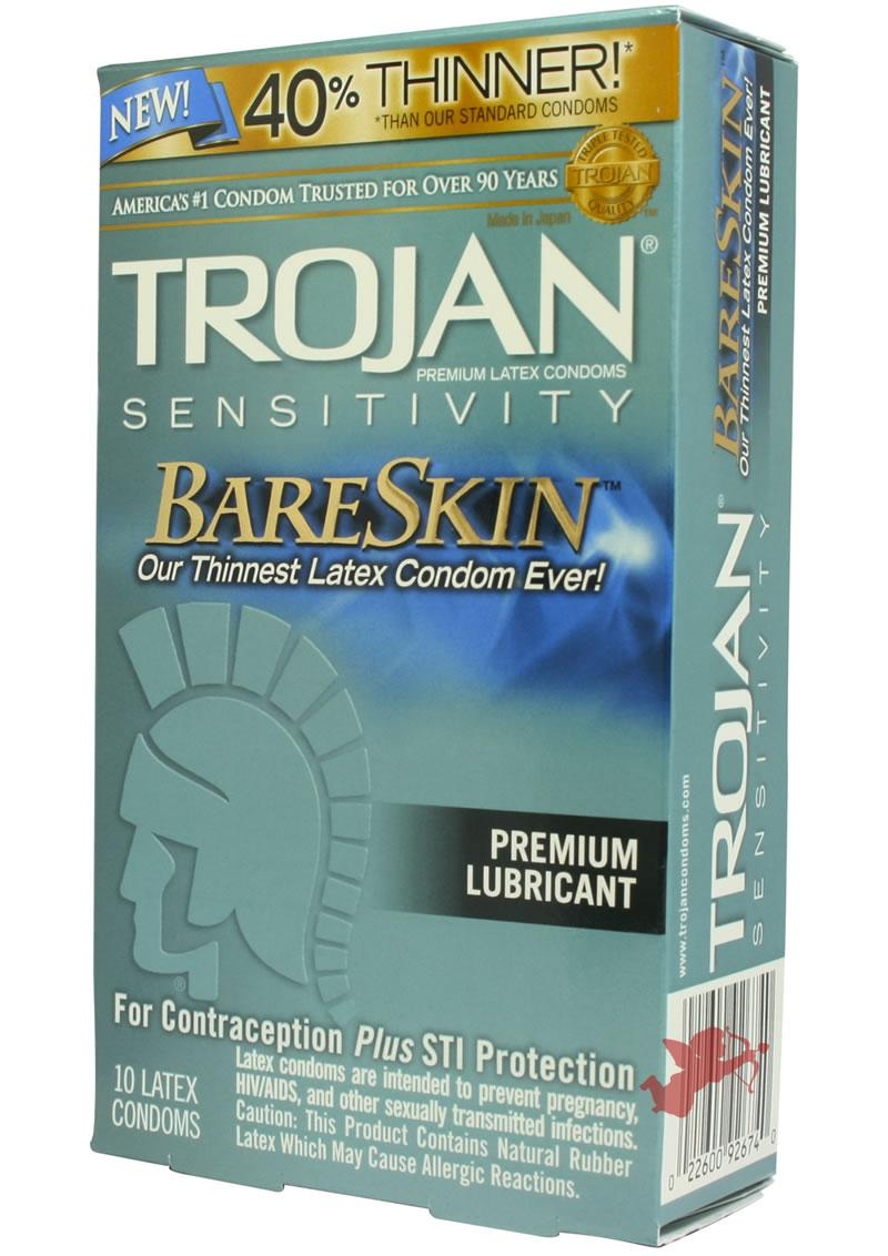 Trojan Condom Sensitivity Bare Skin Lubricated 10 Pack