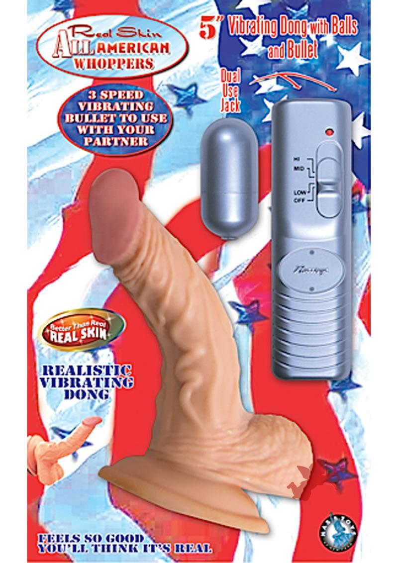 Real Skin All American Whoppers Vibrating Dong With Balls 5 Inch Flesh
