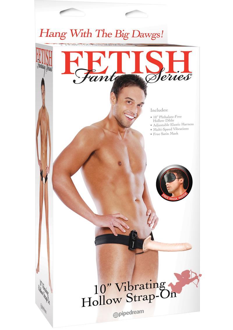 Fetish Fantasy 10 inch Vibrating Hallow Strap On Flesh