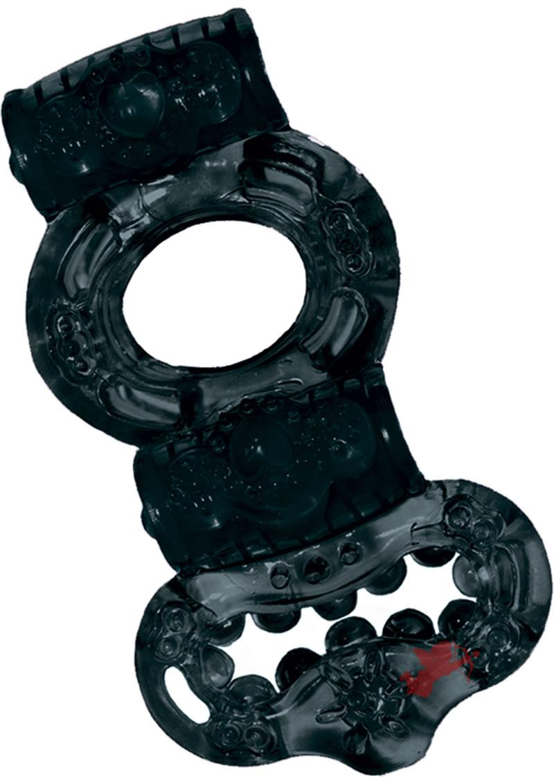 Macho Double Power Cock & Balls Ring Black