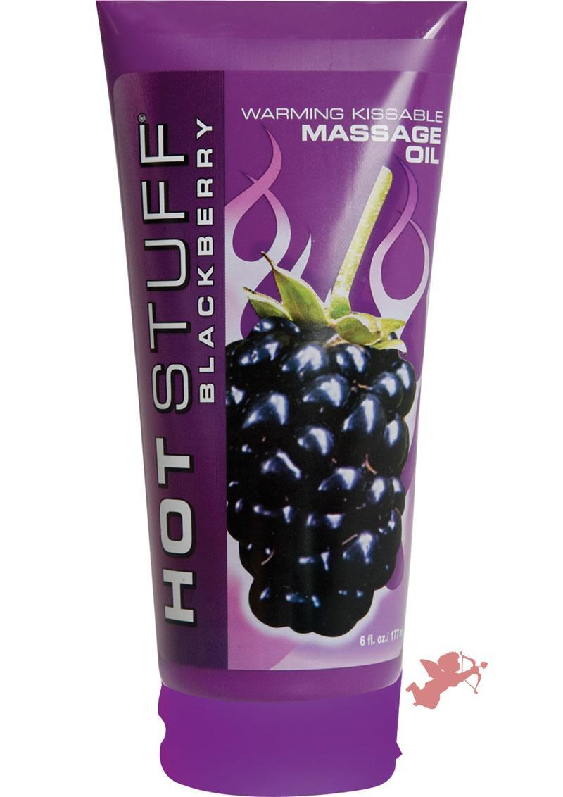 Hot Stuff Warming Kissable Massage Oil Water Based Blackberry 6 Ounce