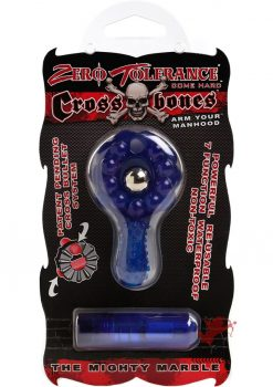 Zero Tolerance Cross Bones The Mighty Marble Cock Ring With Single Bullet Waterproof Blue