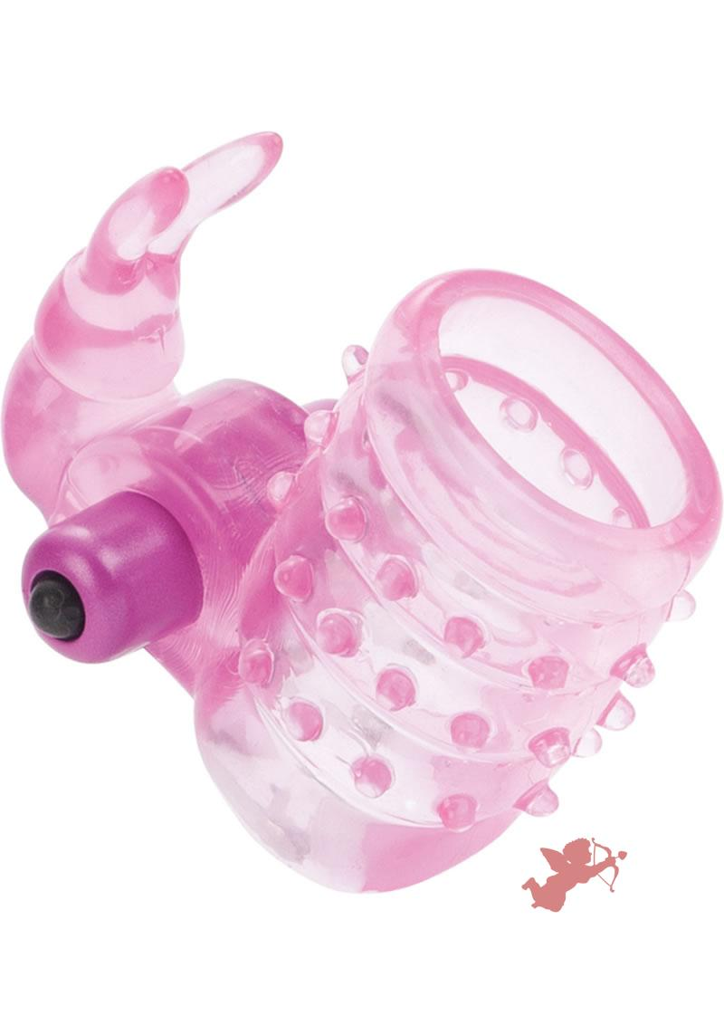 Basic Essentials Stretchy Vibrating Bunny Enhancer Waterproof Pink