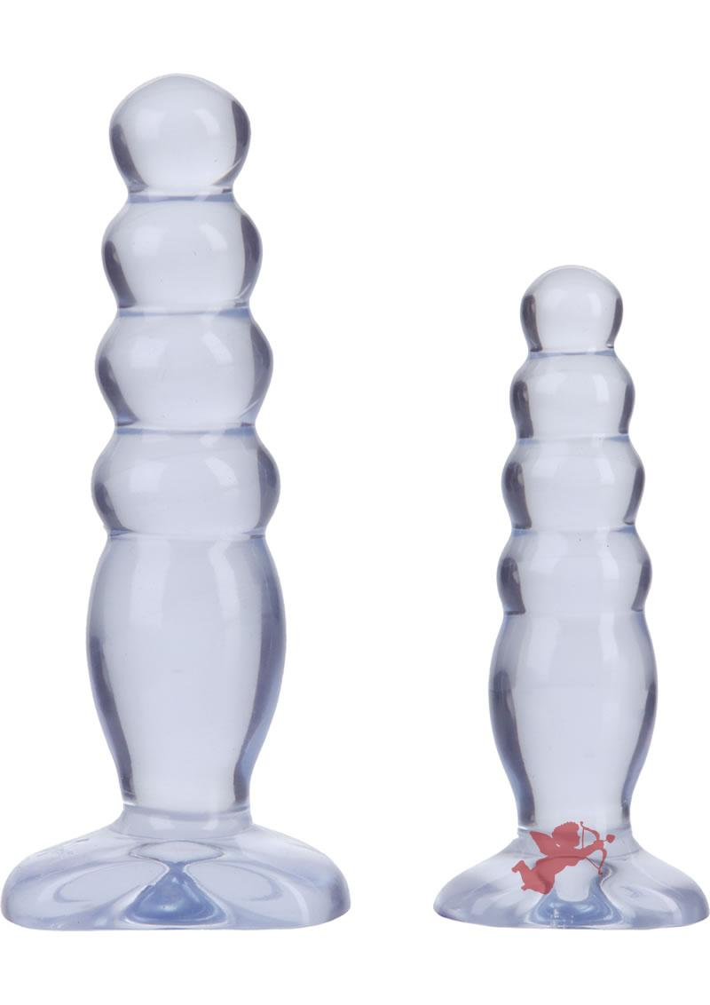 Crystal Jellies Anal Delight Traner Kit Butt Plugs Clear 2ea Per Kit