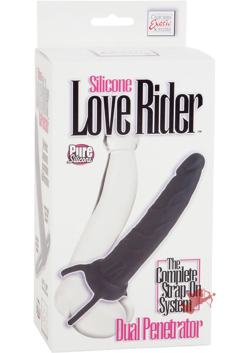 Silicone Love Rider Dual Penetrator Strap On System Black
