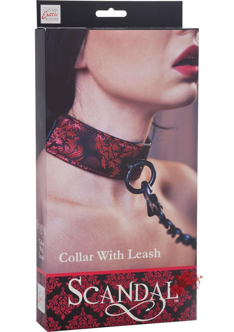 Scandal Collar With Leash Red/Black