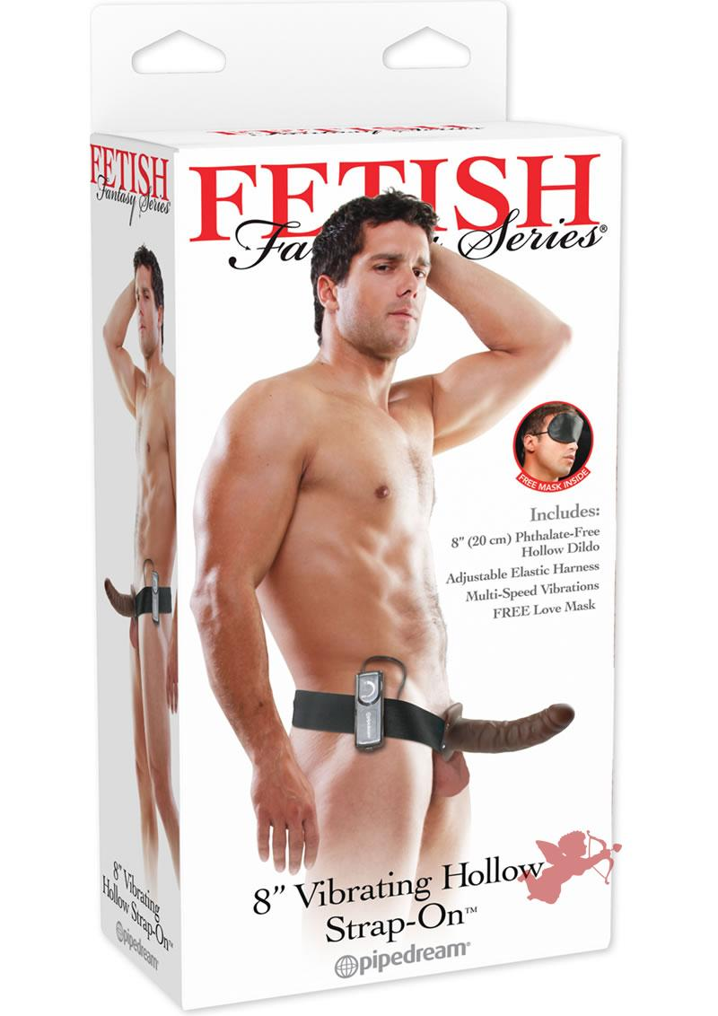 Fetish Fantasy Vibrating Hollow Strap On Brown 8 Inch