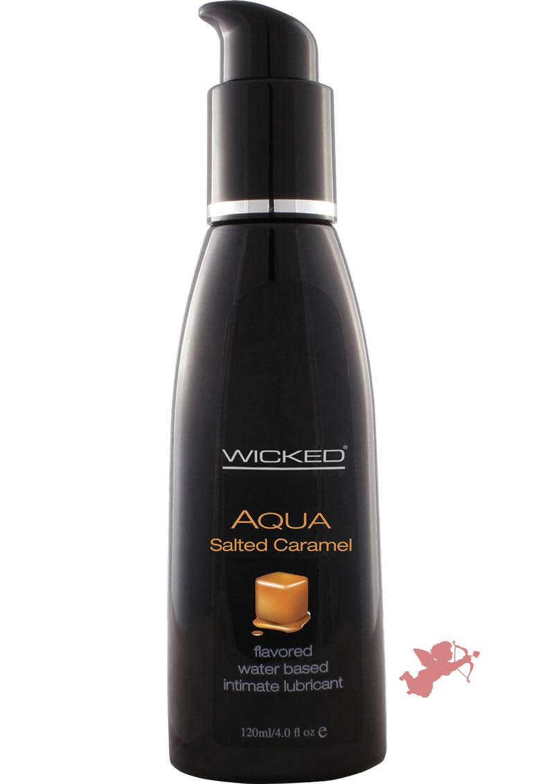 Wicked Aqua Flavored Water Based Lubricant Salted Caramel 4 Ounce