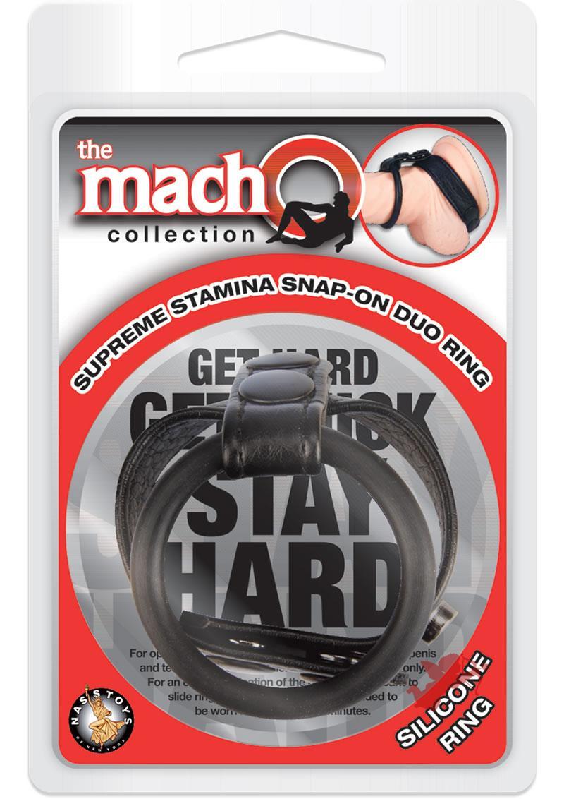 Macho Supreme Stamina Snap On Silicone Duo Ring Black