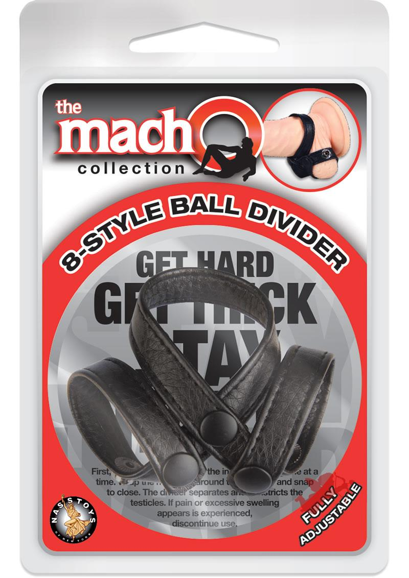 Macho 8 Style Ball Divider Cock Ring Adjustable Black