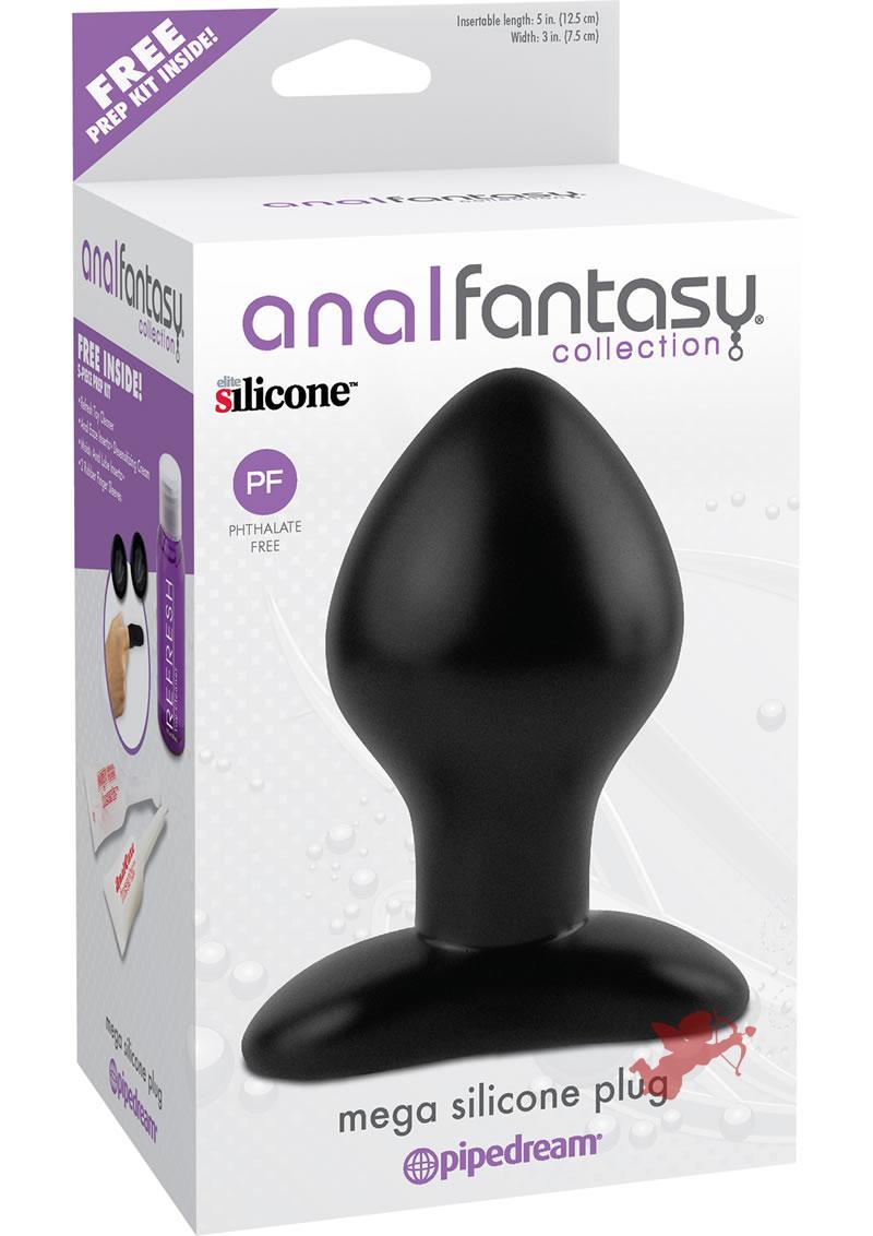 Anal Fantasy Mega Silicone Plug Black 5 Inch