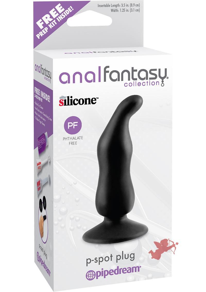 Anal Fantasy Silicone P-Spot Plug Black 3.5 Inch