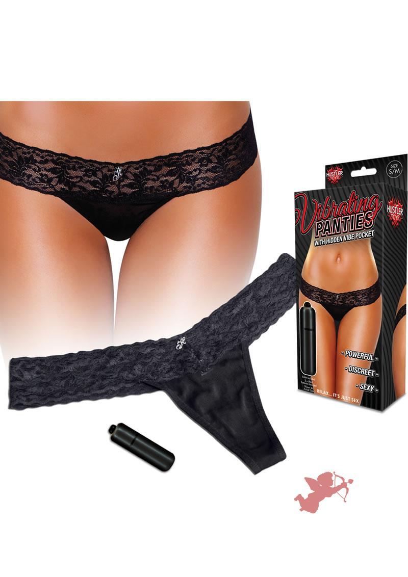 Hustler Toys Vibrating Panties Lace Thong With Hidden Vibe Pocket Black Medium/Large