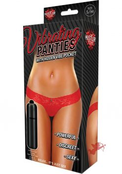 Hustler Toys Vibrating Panties Lace Thong With Hidden Vibe Pocket Red Medium/Large
