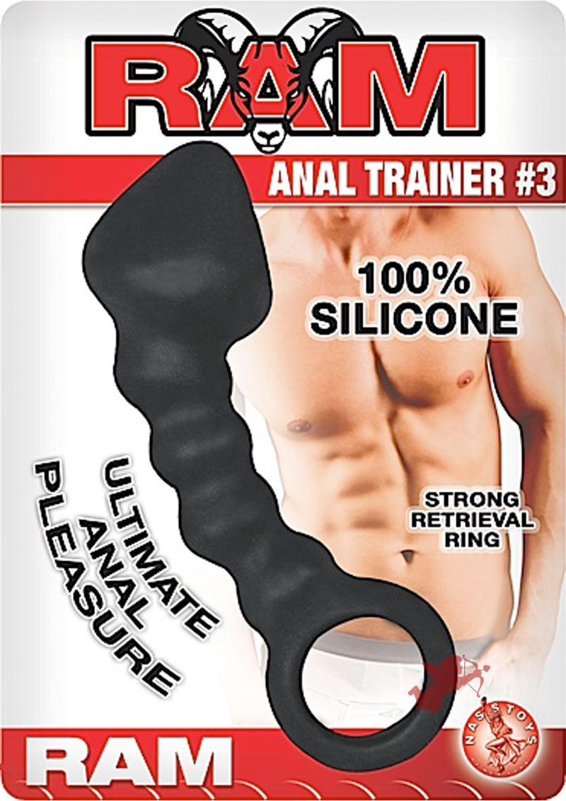 Ram Anal Trainer #3 Silicone Anal Beads Waterproof Black 5.5 Inch