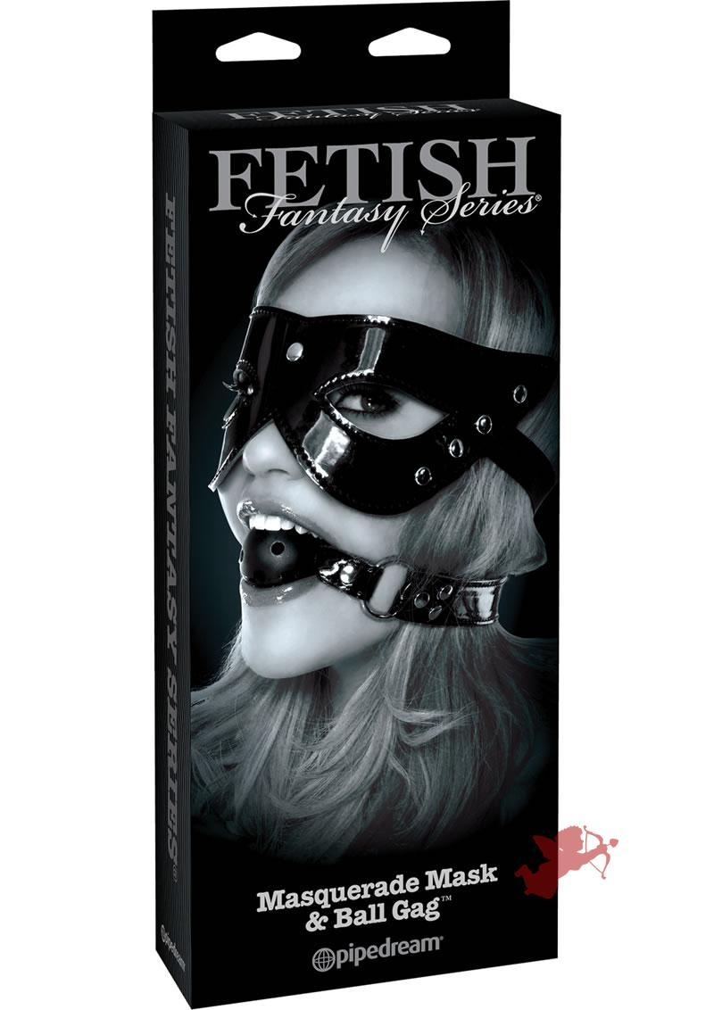Fetish Fantasy Masquerade Mask and Ball Gag Set Black