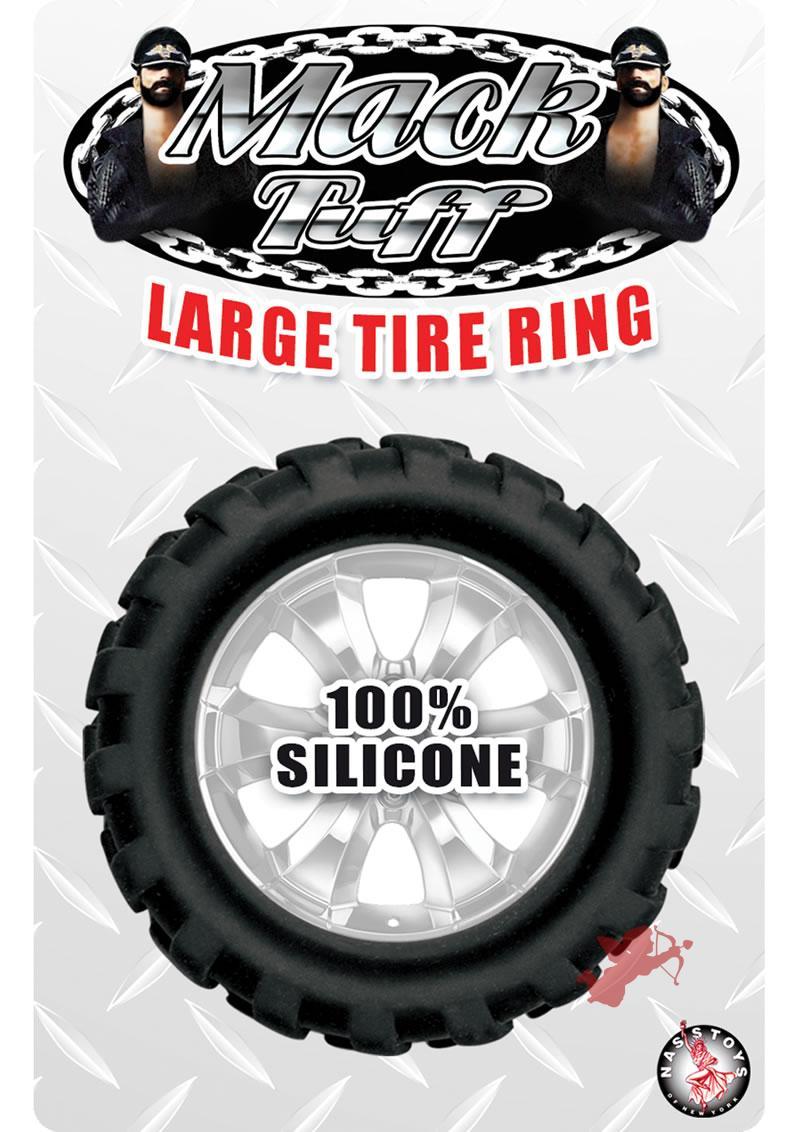 Mack Tuff Large Tire Silicone Cock Ring Waterproof Black 1.45 Inch Diameter