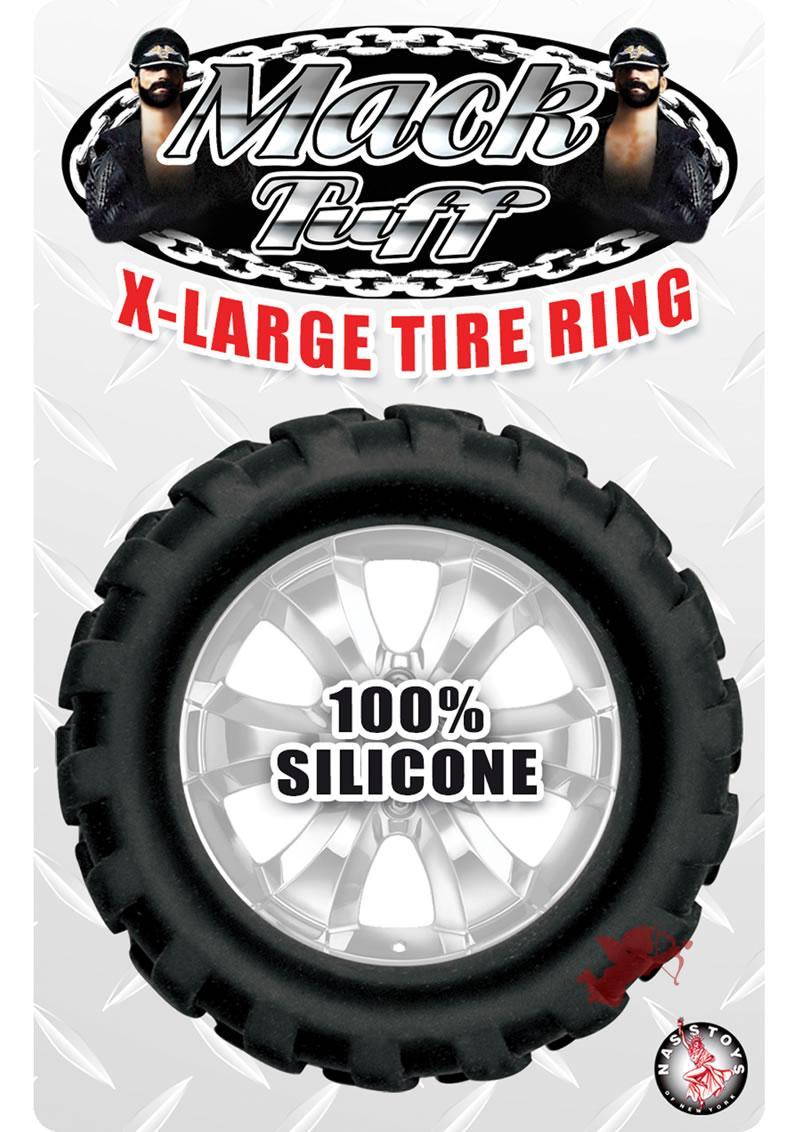 Mack Tuff X Large Tire Silicone Cock Ring Waterproof Black 1.65 Inch Diameter