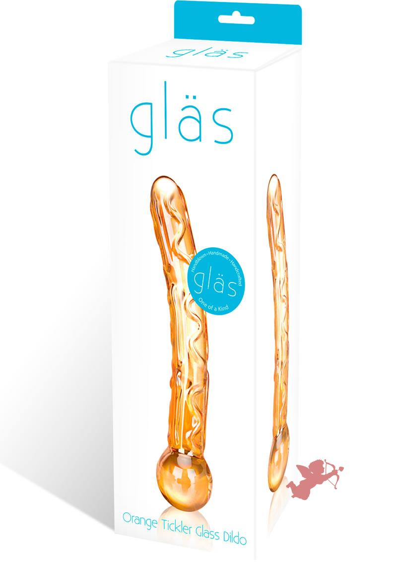 Orange Tickler Glass Dildo