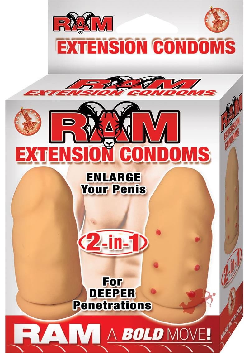 Ram Extension Condoms Latex Extender Sleeves Flesh 2 Each Per Box