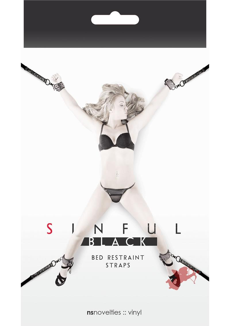 Sinful Bed Restraint Straps Black
