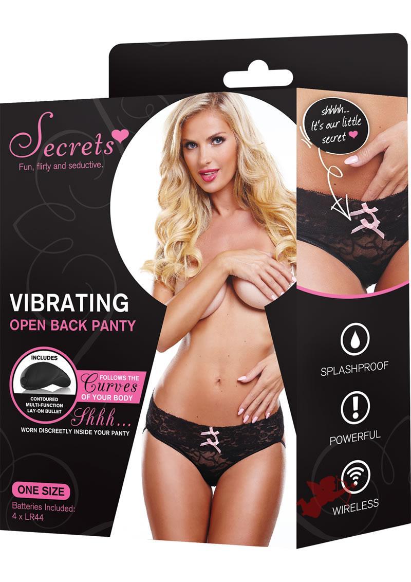 Secrets Vibrating Open Back Panty Black