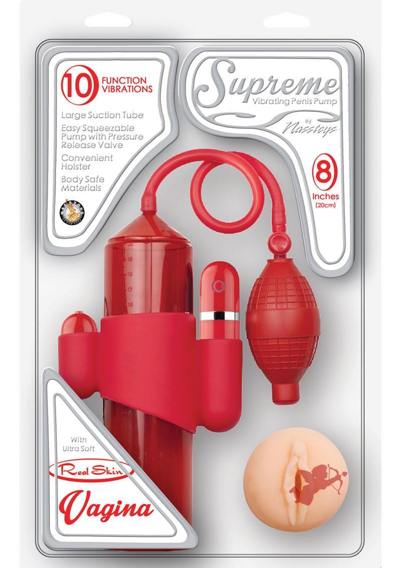 Supreme Vibrating Penis Pump Vagina Red