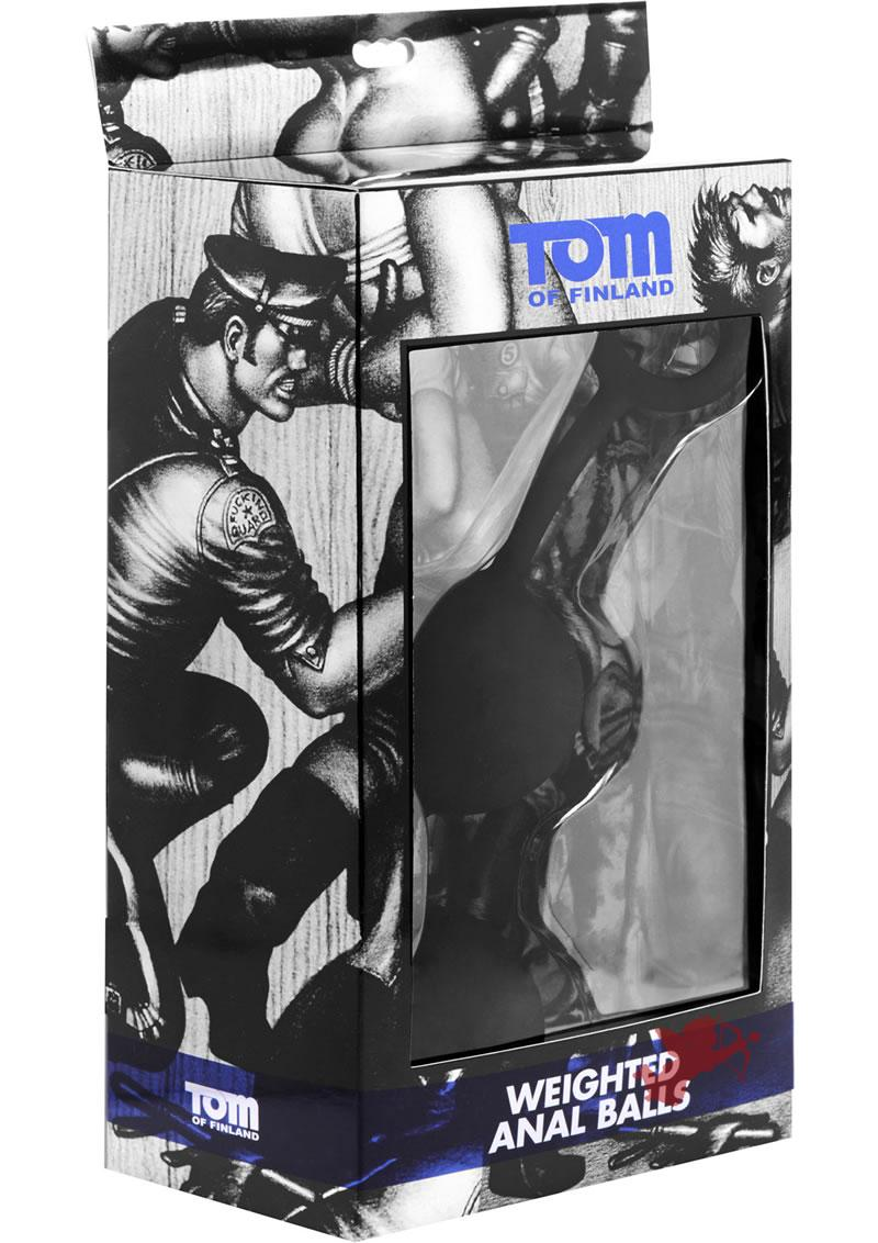 Tom of Finland Weighted Silicone Anal Balls Black 9.5 Inch