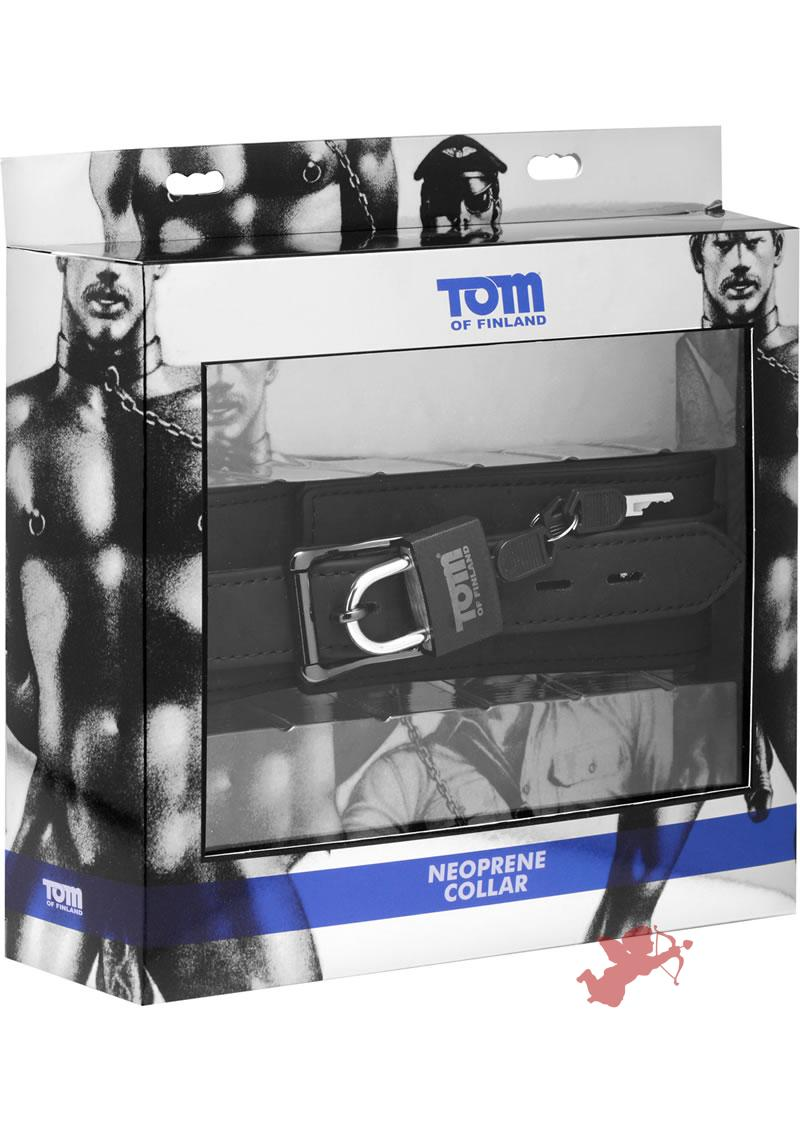 Tom of Finland Adjustable Neoprene Collar With Lock Black 18.5 Inch