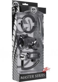 Master Series Oppressor Male Confinement Chastity Cage With Ball Clamp And Anal Hook Black