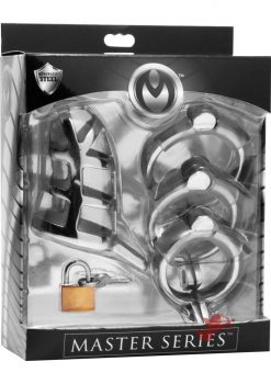 Master Series Detained Stainless Steel Locking Chastity Cage Metal