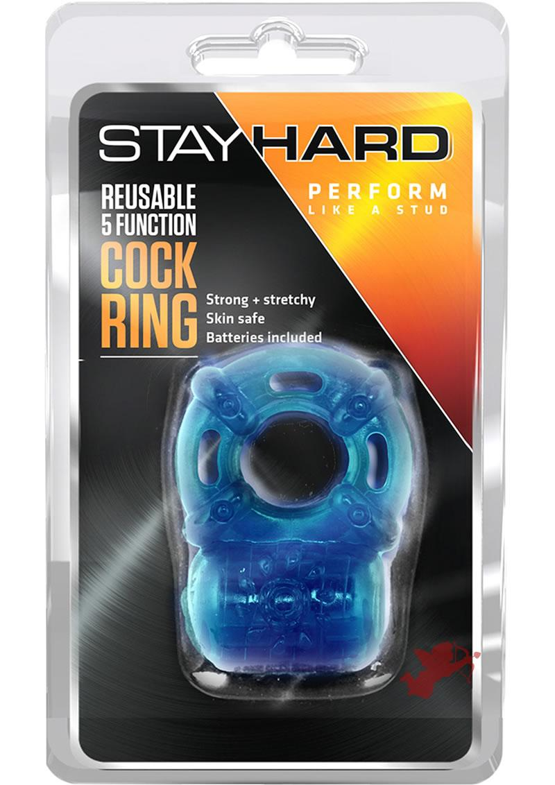 Stay Hard Reusable 5 Function Cock Ring Blue