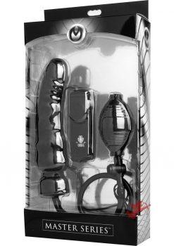 Master Series Ravage Vibrating Inflatable Dildo Black 8 Inch