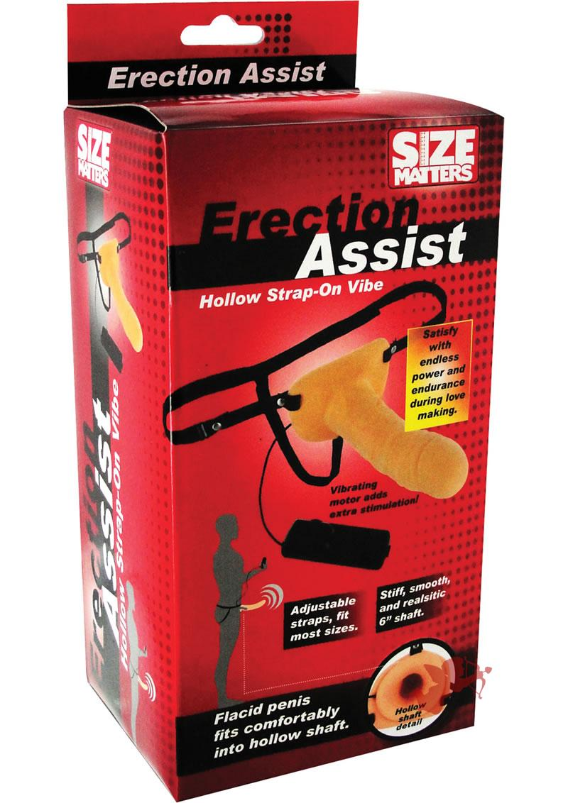 Size Matters Vibrating Hollow Strap On Flesh 6.5 Inch