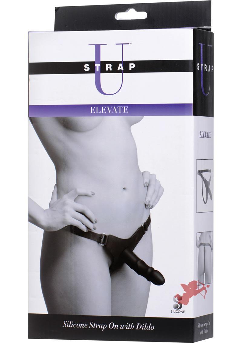 Strap U Elevate Silicone Strap On With Dildo 5.5 Inch Black