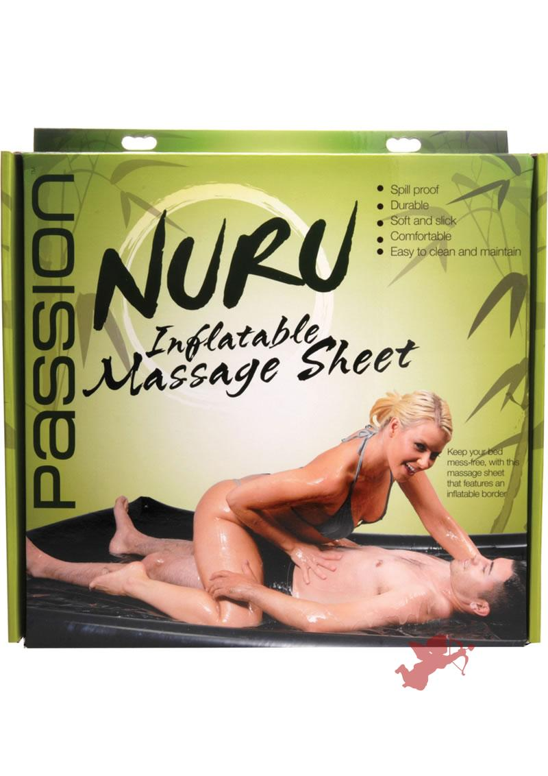 Nuru Inflatable Border Vinyl Massage Sheet Black