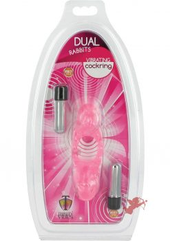 Trinity Vibes Dual Rabbit Vibrating Cockring Waterproof Pink