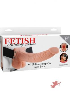 Fetish Fantasy 9 Inch Hollow Strap On With Balls Flesh
