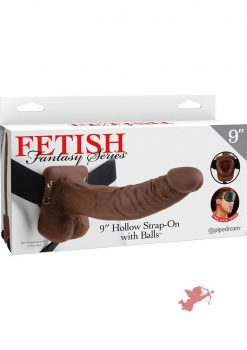 Fetish Fantasy 9 Inch Hollow Strap On With Balls Brown