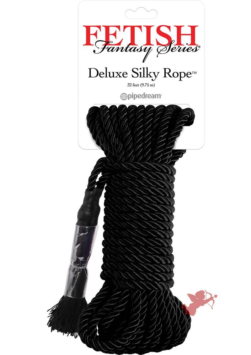 Festish Fantasy Deluxe Silk Rope Black 32 Feet