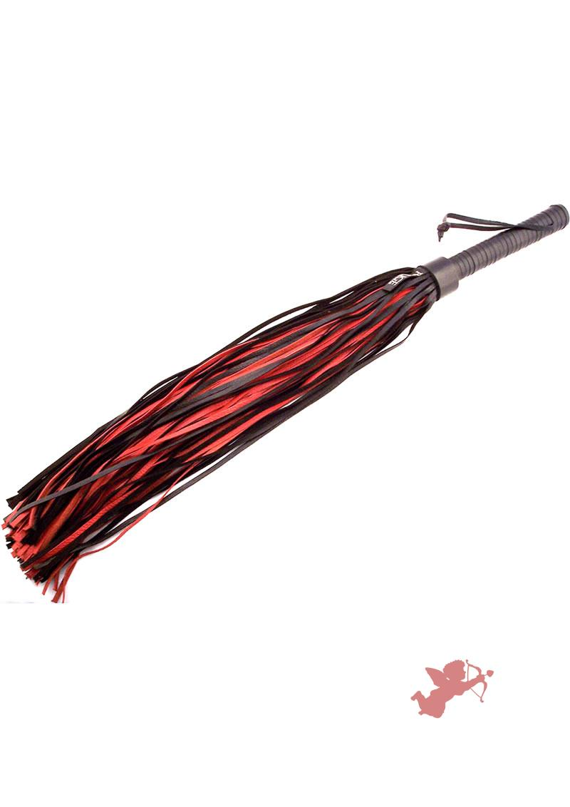 Rouge Leather Handle Leather Flogger Red