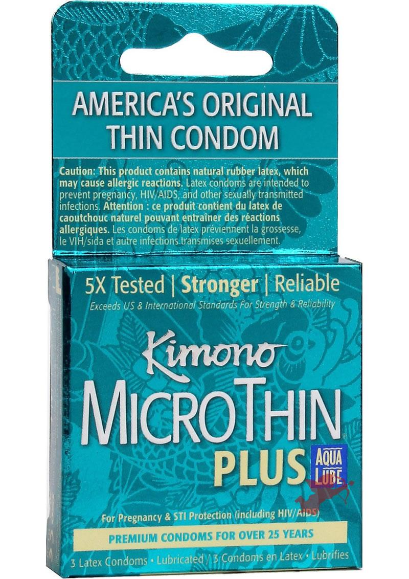 Kimono MicroThin Plus Auq Lube Condoms 3 Pack