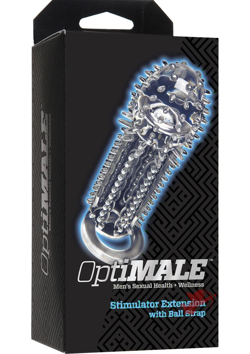 Optimale Stimulator Textured Extension With Ball Strap Clear
