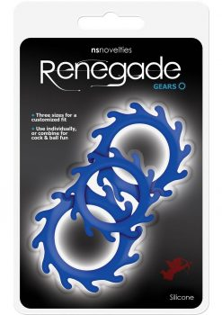 Renegade Gears Silicone Cock Ring Set 3 Each Per Set Blue