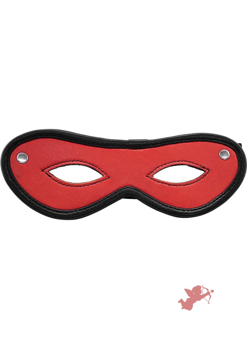Rouge Open Eye Mask Leather Or Suede Black And Black